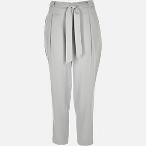 Grey tie waist tailored trousers