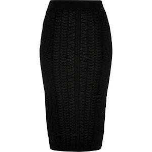 Black textured knitted pencil skirt