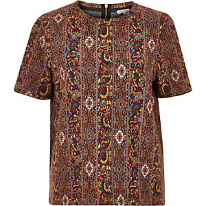 Yellow tapestry jacquard t-shirt