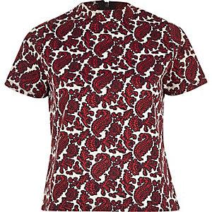 Red printed jacquard top