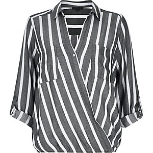 Grey stripe wrap front V-neck blouse