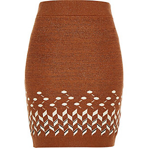 Rust brown knitted metallic tube skirt