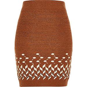 Rust brown knitted metallic tube skirt