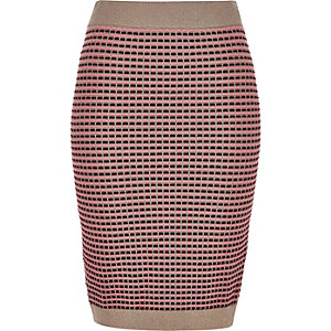 Pink metallic knitted bodycon skirt
