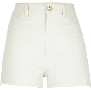 Cream high waisted Nori denim shorts