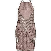 Dark pink bead embellished cami dress