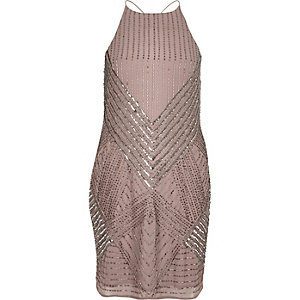 Dark pink bead embellished cami dress