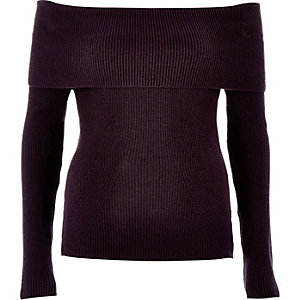 Dark purple bardot long sleeve jumper