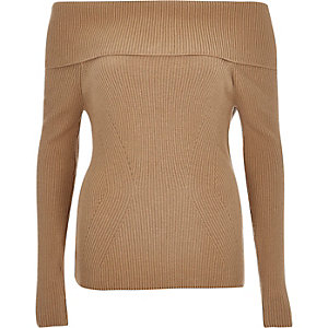 Beige bardot long sleeve sweater