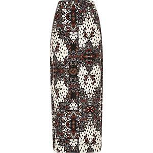 Ecru tile print split front maxi skirt