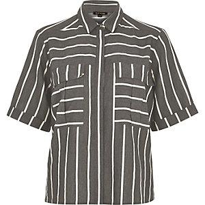 Grey stripe boxy shirt