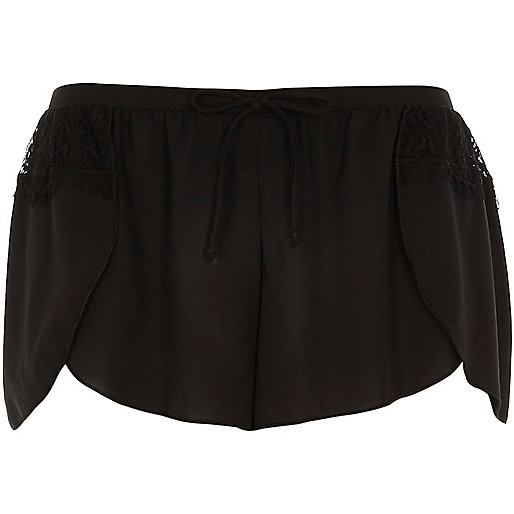 Black lace detail pyjama shorts