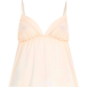 Cream lace insert cami pyjama top