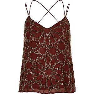 Dark red embellished strappy cami