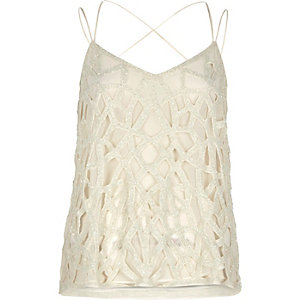 Cream embellished strappy cami