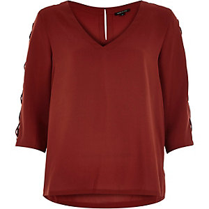 Dark red lace-up sleeve top