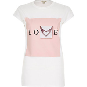 White caviar love print fitted t-shirt