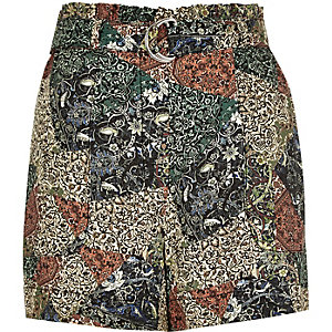 Green paisley print high waisted shorts
