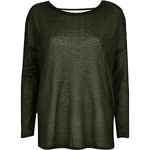 Khaki metallic slouchy top