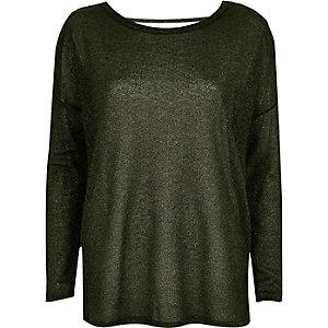 Khaki metallic slouchy top