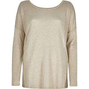 Beige metallic slouchy top