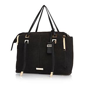 Black faux-suede boxy handbag