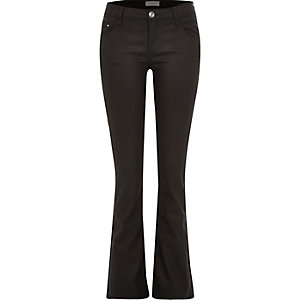 Black coated Hailey low rise bootcut jeans
