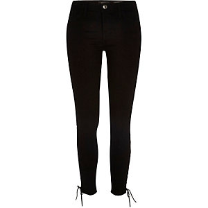 Black Amelie lace-up side superskinny jeans