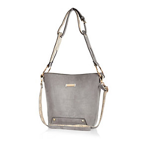 Grey monogram-lined bucket handbag