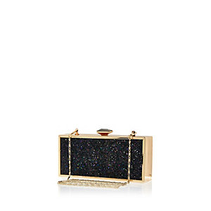 Black glittery box clutch