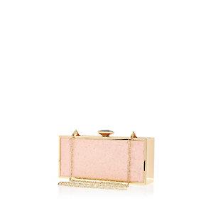 Pink glittery box clutch