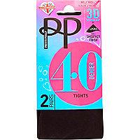 Black Pretty Polly opaque 40 denier tights