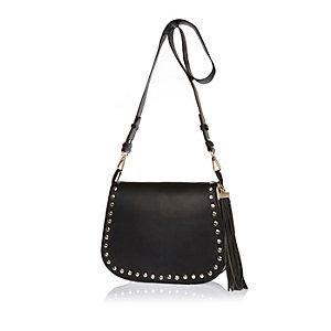 Black leather studded saddle handbag