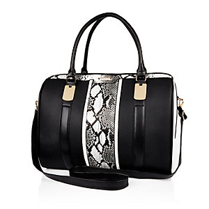 Black snake print weekend bag