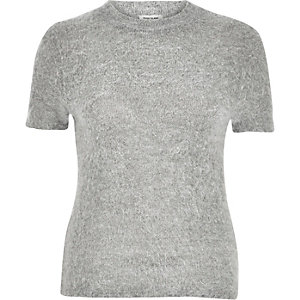 Grey fluffy fitted t-shirt