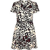 Pink leopard print wrap front dress