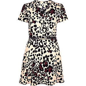 Pink leopard print wrap front dress
