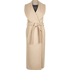 Cream sleeveless wrap-around robe coat