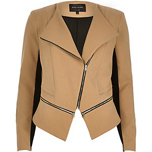 Camel brown double zip fitted jacket