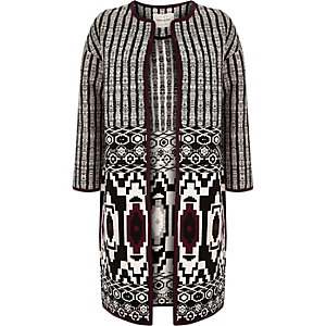 Black geometric print collarless coat