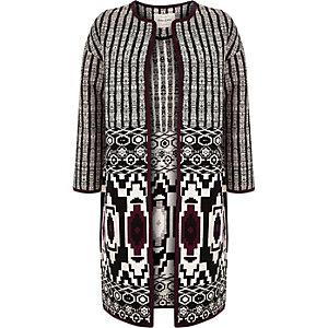 Black geometric print collarless coat