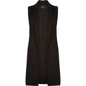 Black raw cut sleeveless jacket