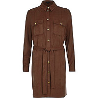 Brown faux suede shirt dress