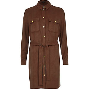 Brown faux suede shirt dress