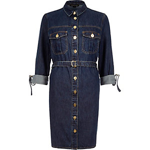 Dark denim belted shirt dress