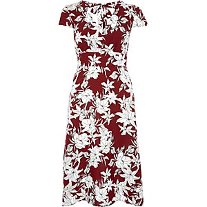 Red floral print open back midi tea dress