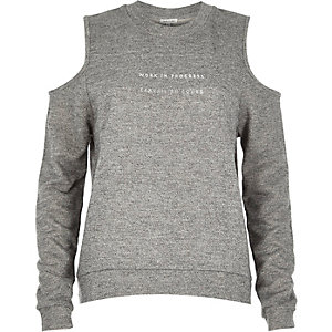 Grey slogan print cold shoulder sweatshirt