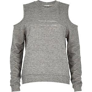 Grey slogan print cold shoulder sweatshirt