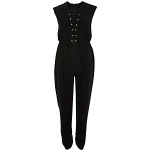 Black lace-up front jumpsuit