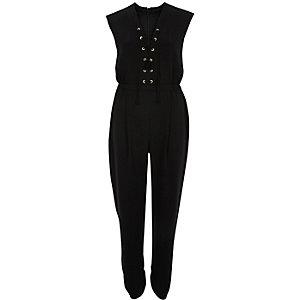 Black lace-up front jumpsuit
